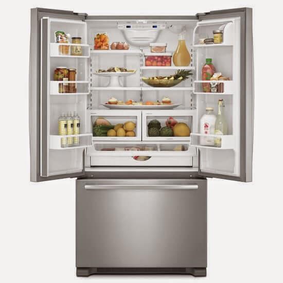 Jenn Air Kitchen Appliance Packages: Kitchenaid Fridge With Upper Doors Open