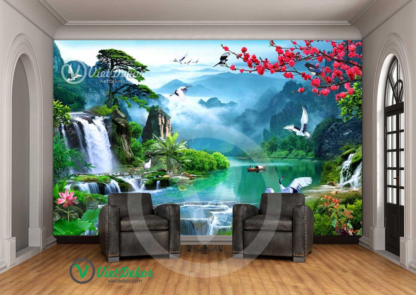 Tranh dán tường phong thủy núi rừng thác nước