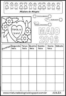 Calendário maio 2016 colorir