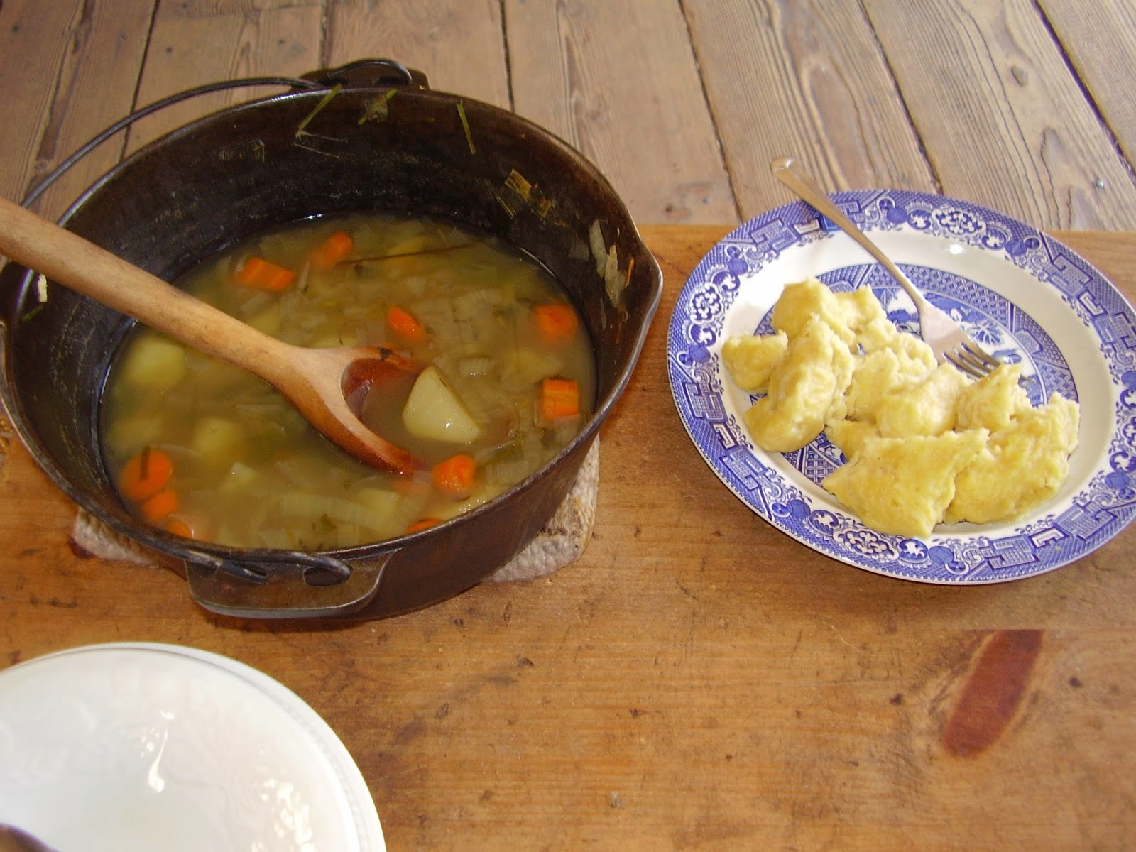 Leek stew and dumplings.