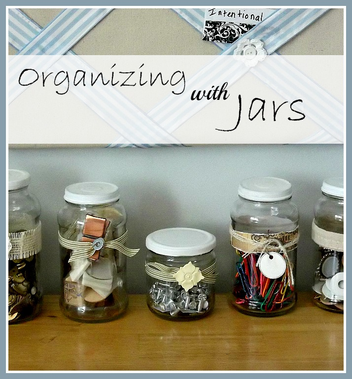 Vintage, Paint and more... using recycled jars for orgainizing craft items