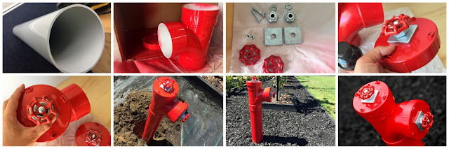 Step-by-step instructions for making a fake fire hydrant with PVC pipe for dog garden pee post