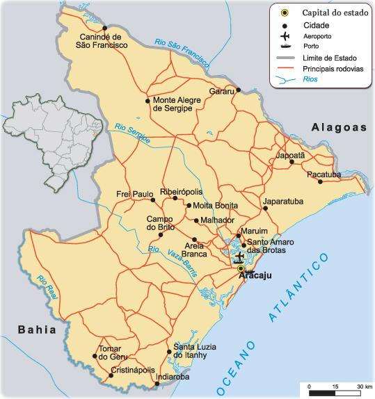Sergipe   Mapas Geográficos de Sergipe
