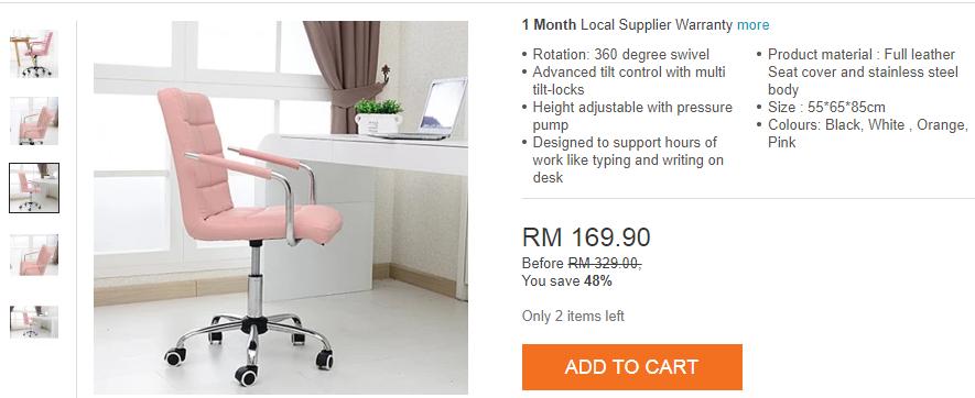 swivel chair lazada hampton bay patio chairs leather comfort & ergonomic - pink