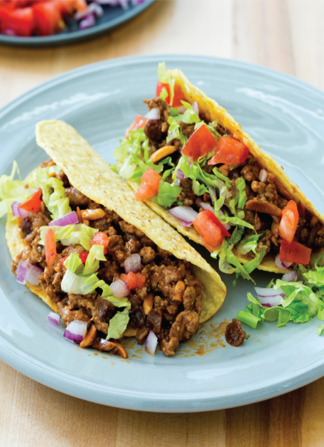 Ground Pork Tacos with Almonds and Raisins