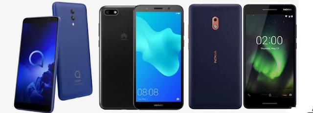 Comparison Alcatel 1x (2019) versus Nokia 2.1 versus Huawei Y5 Lite
