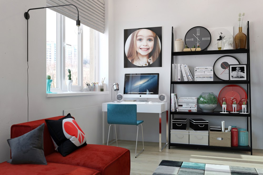 white-wall-bedroom-office