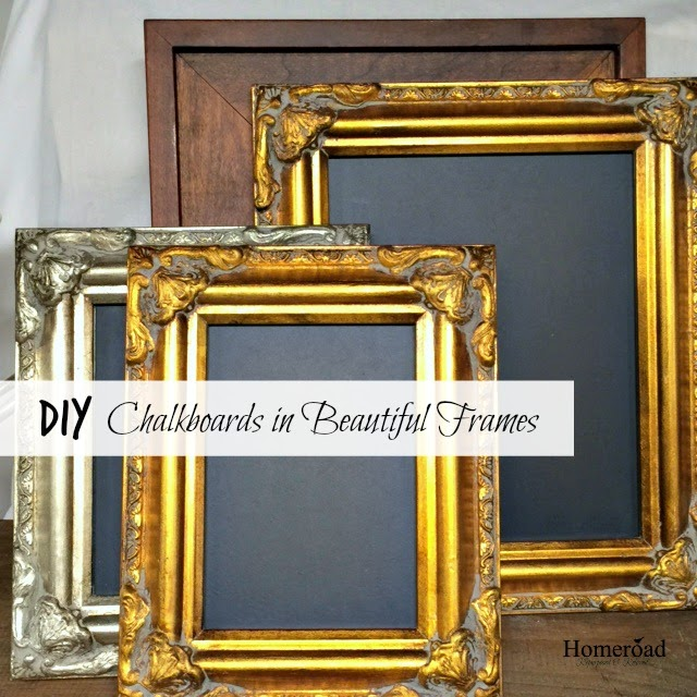 DIY chalkboards using thrift store frames and pre-made chalkboard