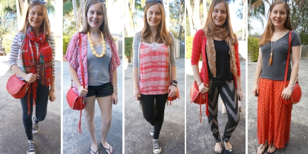 5 outfit ideas with red Rebecca Minkoff unlined saddle bag with complimentary clothes | awayfromblue