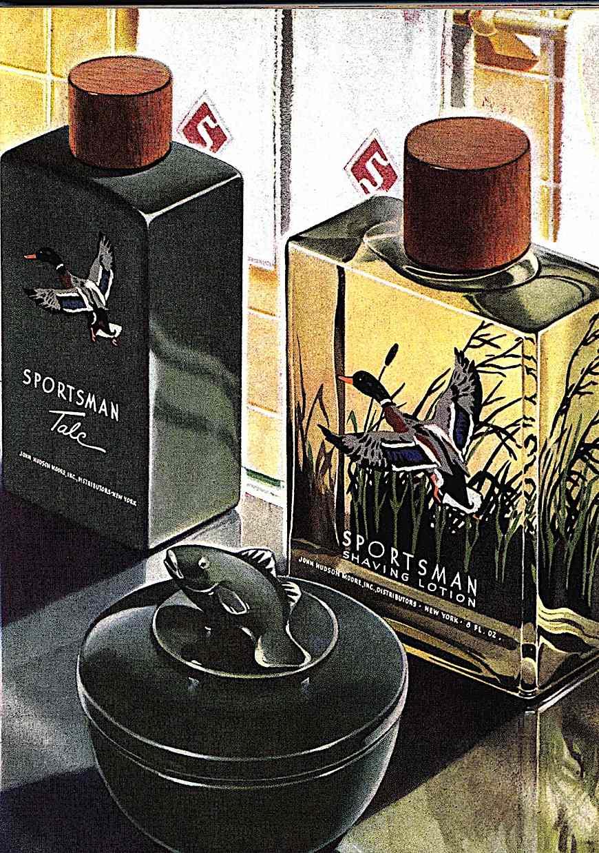 1944 men's aftershave lotion, a color illustration, Sportsman Shaving Lotion