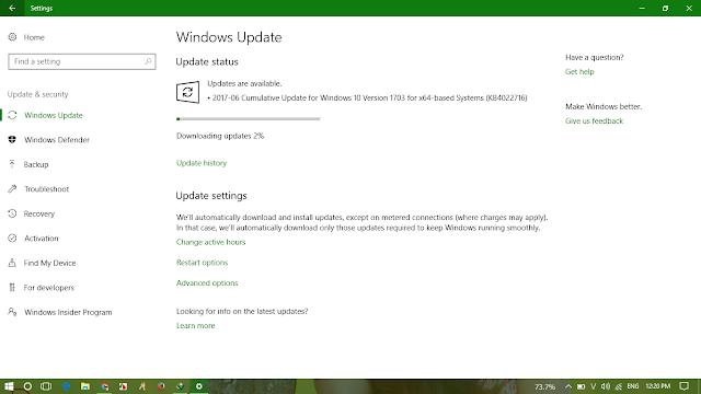 Cumulative Update KB4022716 Windows 10 v1703 Build 15063.447