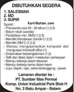 Lowongan Kerja PT. Sumber Mas Permai Indonesia