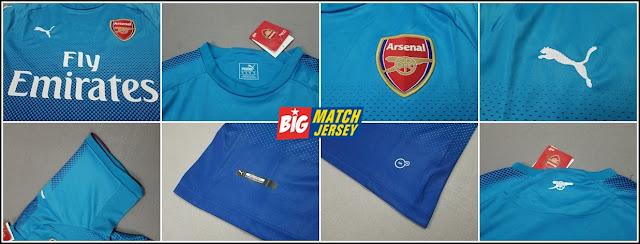 Detail Kaos Bola Jersey Grade Original Arsenal Away Biru Terbaru 17-18