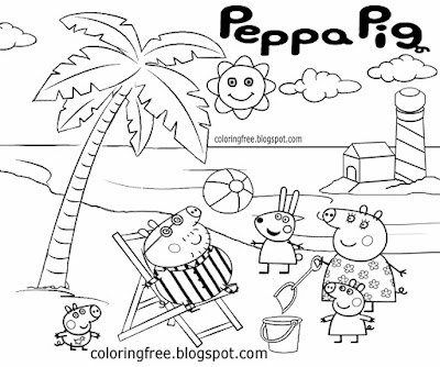fun family holiday cartoon seaside trip mummy daddy printable peppa pig coloring pages easy kids art