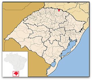 Cidade de Aratiba, no mapa do Rio Grande do Sul