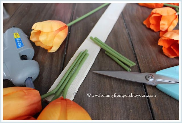 DIY-Carrot Tulip Wreath-Tulip Bundles-Orange-Tutorial-From My Front Porch To Yours