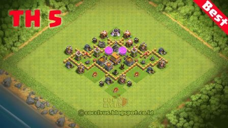 Benteng Pertahanan CoC TH 5 Terkuat Base Trophy