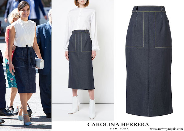 Queen Letizia wore CAROLINA HERRERA denim midi skirt