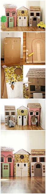 casas de carton DIY de jueguete para niños