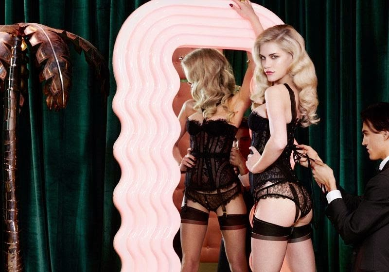Ashley Smitha and Dioni Tabbers wear luxury lingerie for the Agent ... f6b35b42f