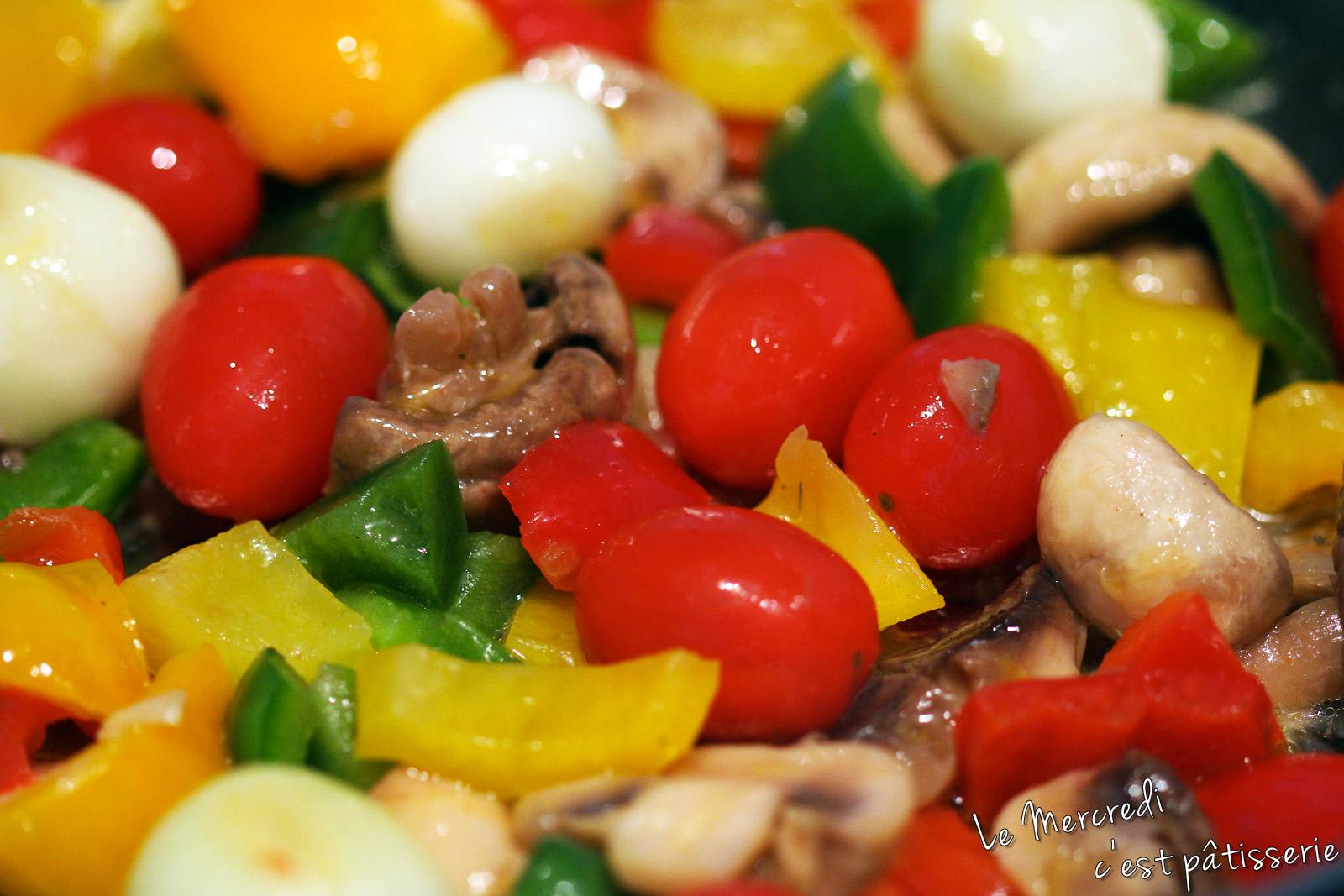 Brochettes de legumes marinés au miel