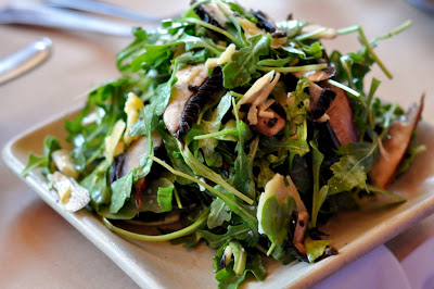 Shaved Artichoke-Portobello Salad with Arugula, Lemon-Truffle Vinaigrette, and Sao Jorge Cheese at Zuzu in Napa, CA - Photo by Taste As You Go