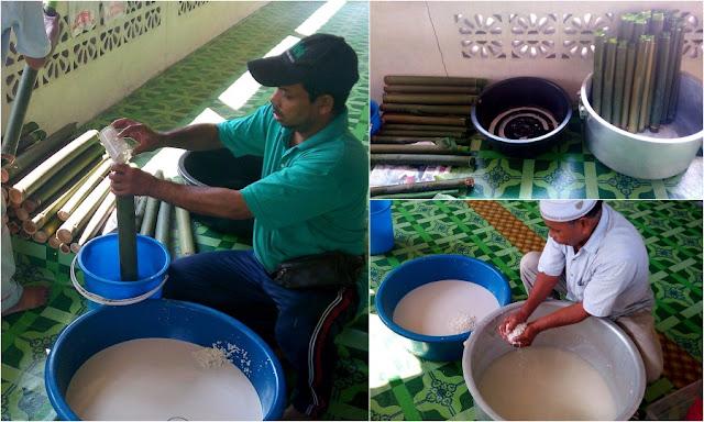Menyediakan lemang - Majlis Rumah Terbuka Aidilfitri Surau Muhajirin