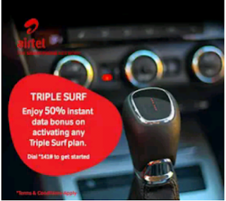 New Airtel Triple Surf Plan : Gives You 100% Bonus On Data