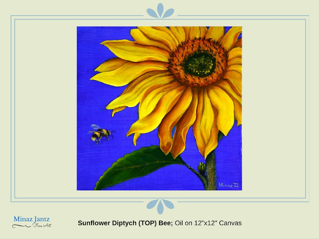"Sunflower Diptych (TOP) Bee; Oil on 12""x12"" Canvas by Minaz Jantz"