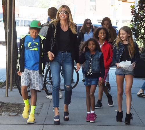 Super model Heidi Klum ventured out with her four Children in NYC