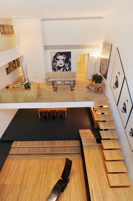Photo of incredible townhouse interiors as see from the roof above the living area