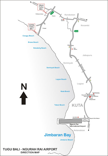 Map to Tugu Hotel in Canggu