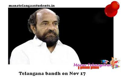 BC Welfare Society leader calls for Telangana bandh on Nov 17