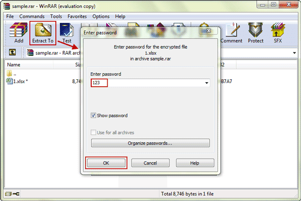 extract encrypted rar file with recovered password