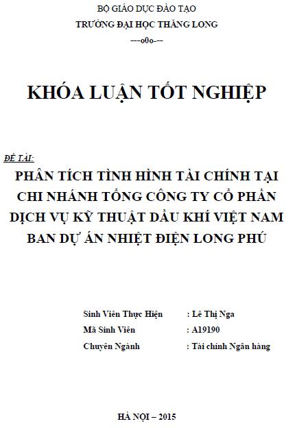 Phân tích tình hình tài chính tại chi nhánh Tổng Công ty Cổ phần Dịch vụ Kỹ thuật Dầu khí Việt Nam Ban Dự Án Nhiệt Điện Long Phú