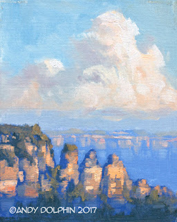 Thee Sisters, Blue Mountains plein air oil painting by Andy Dolphin.