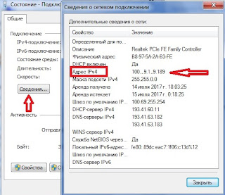 Смотрите IP-адрес по версии протокола IPv4