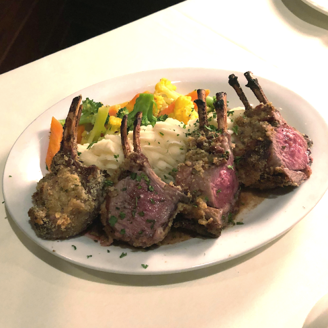 Yummy, yummy New Zealand Rack of Lamb at Palm Court in Arlington Heights