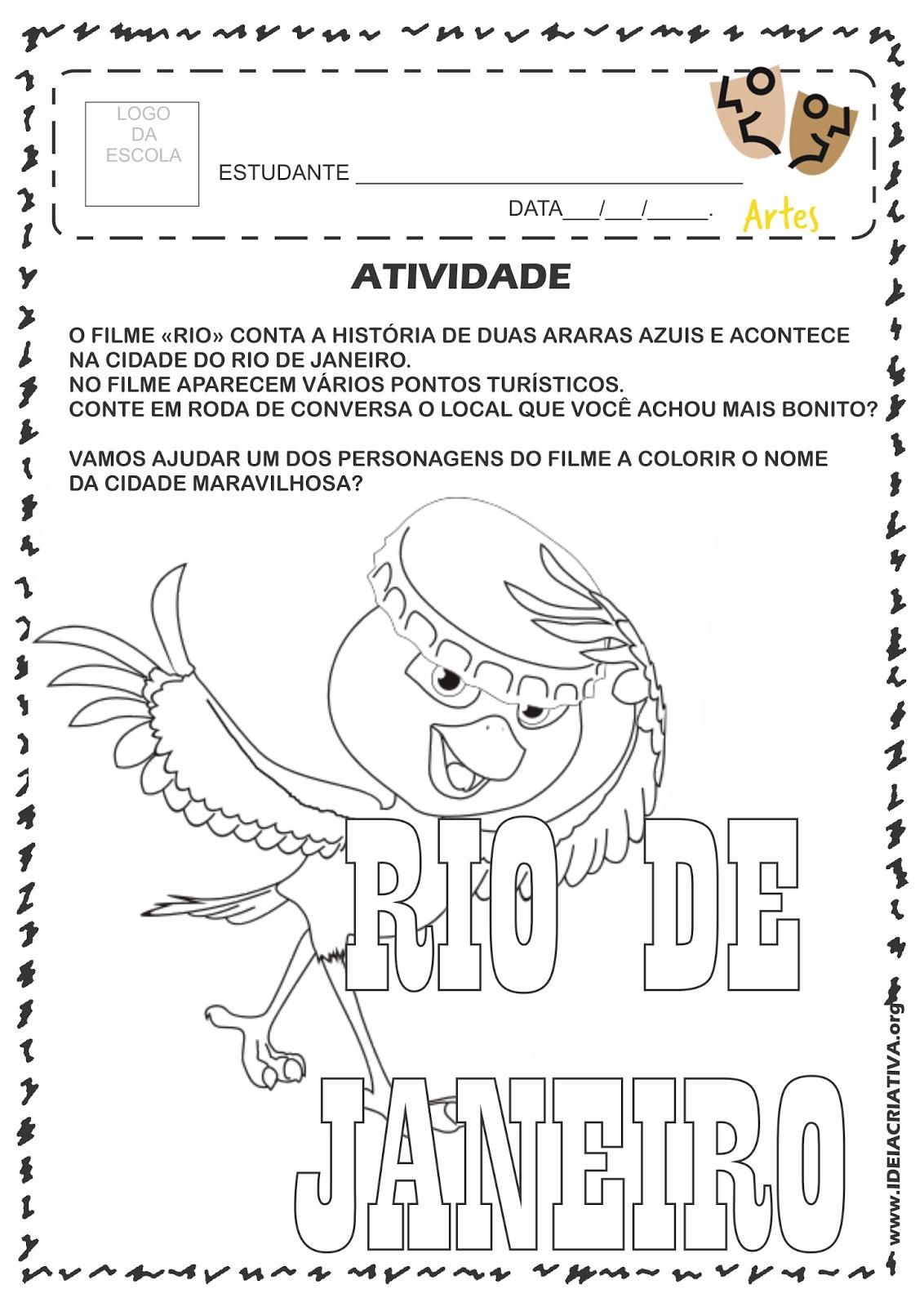 Atividade Rio 450 Anos Filme Rio Roda de Conversa e Pintura do Nome da Cidade e Personagem tipicamente carioca Nico