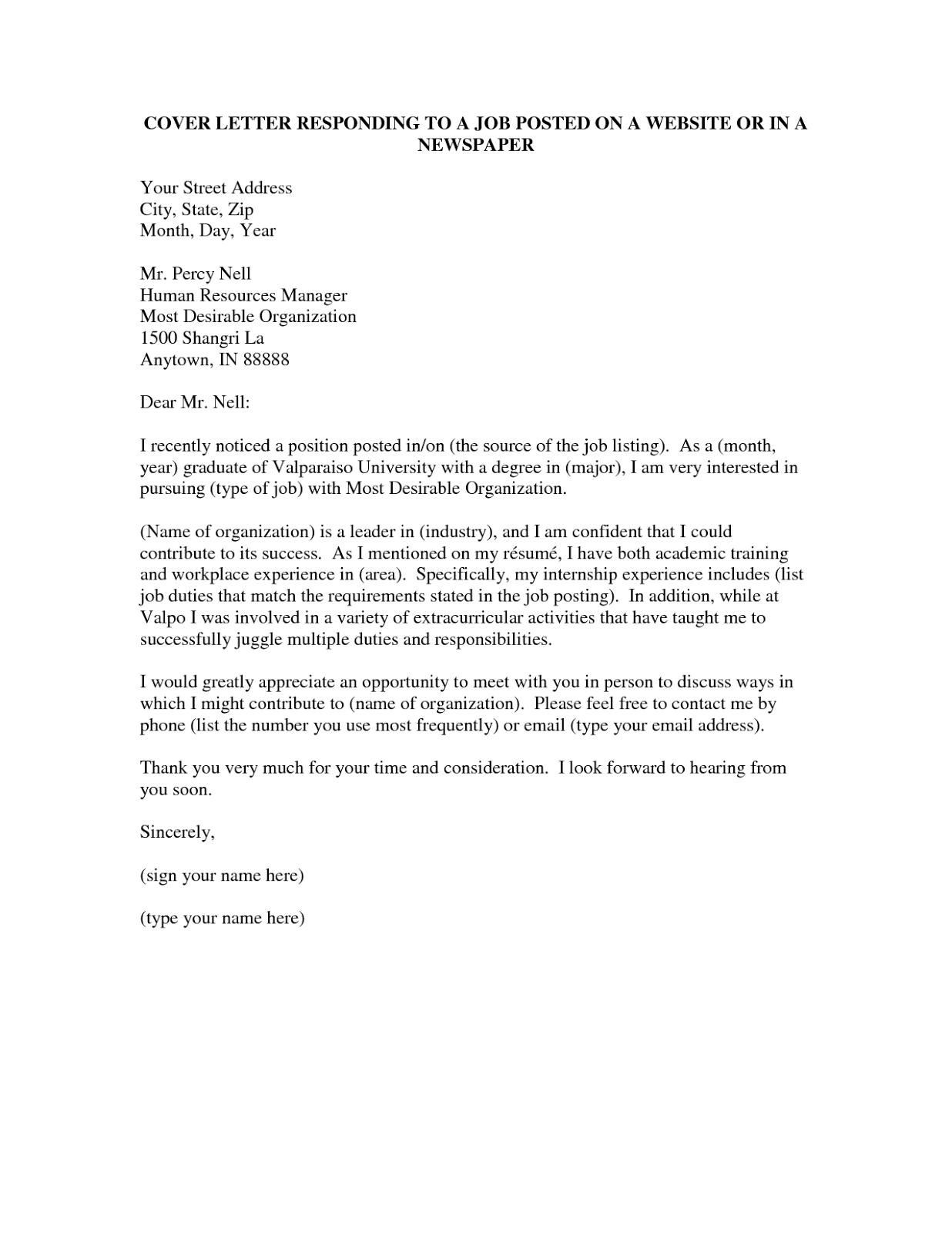 Cover Letter – Job Posting Cover Letter