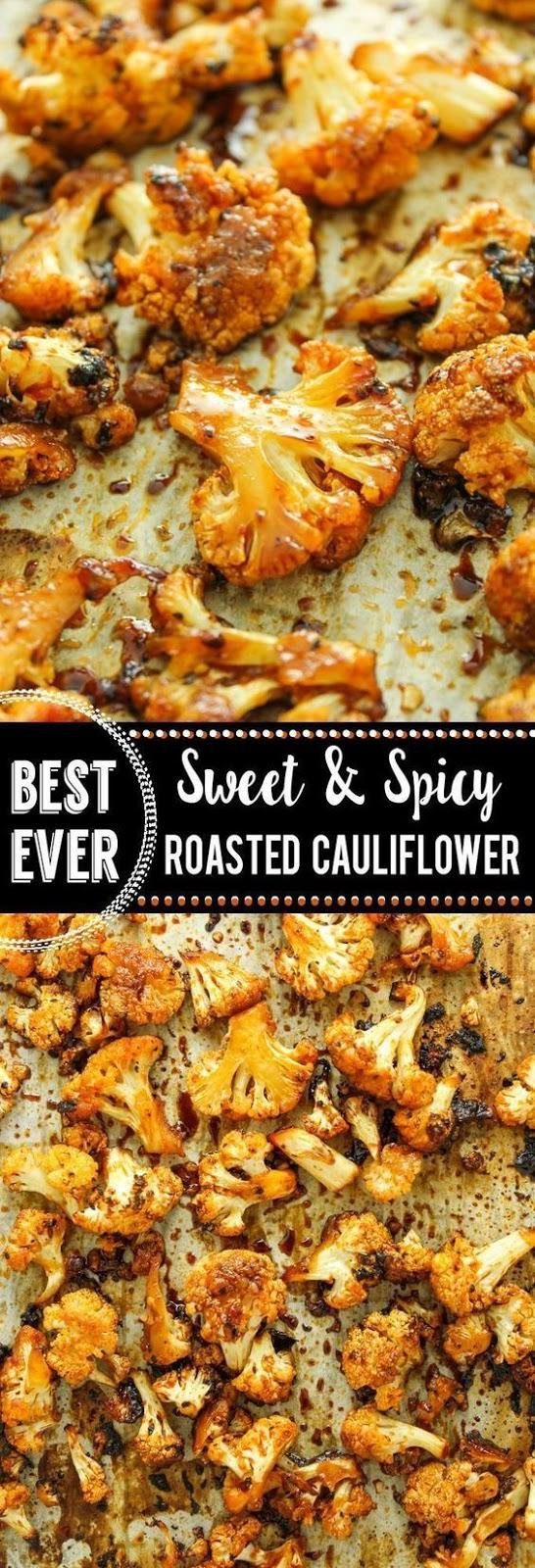 Sweet and Spícy Baked Caulíflower