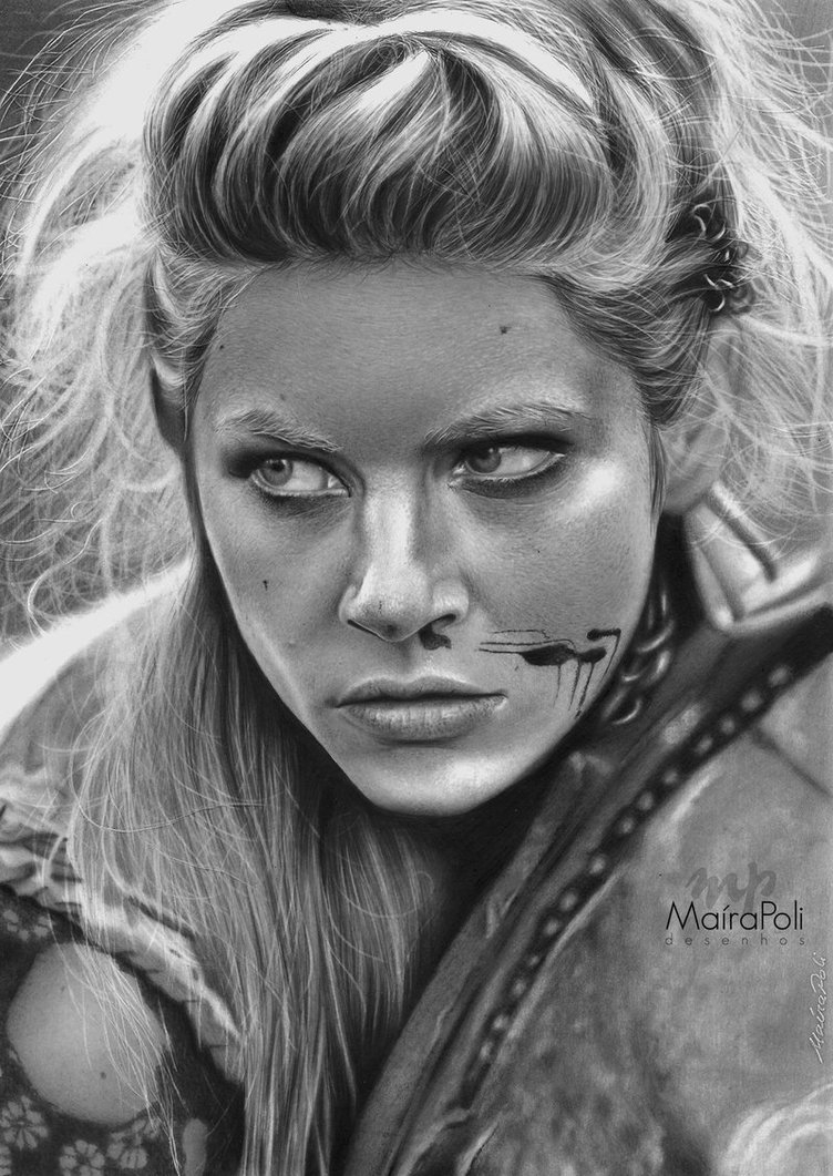 09-Lagertha-Vikings-Katheryn-Winnick-Maíra-Poli-Mahbopoli-Black-and-White-Realistic-Pencil-Celebrity-Portraits-Drawings-www-designstack-co