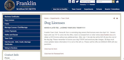 Town of Franklin webpage for dog license renewals that can be processed online