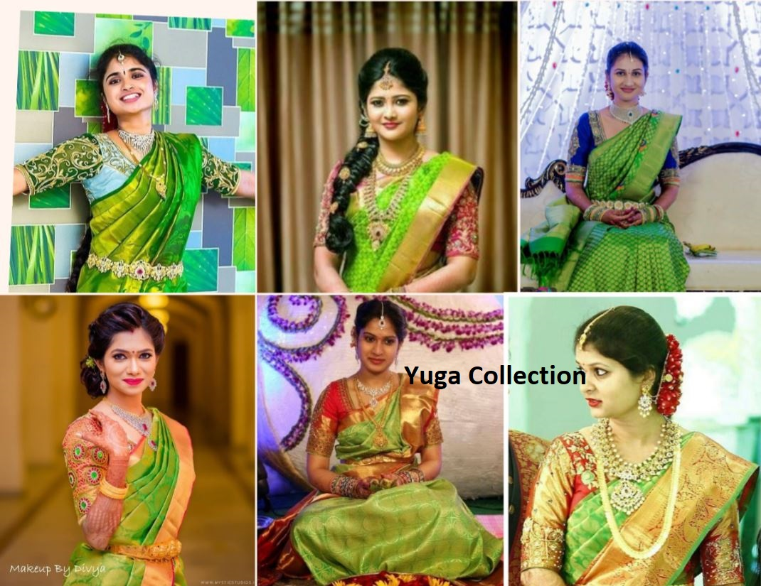 ebc5fc55be8c77 Parrot Green Kanjeevaram Bridal sarees with contrast Blouse combination