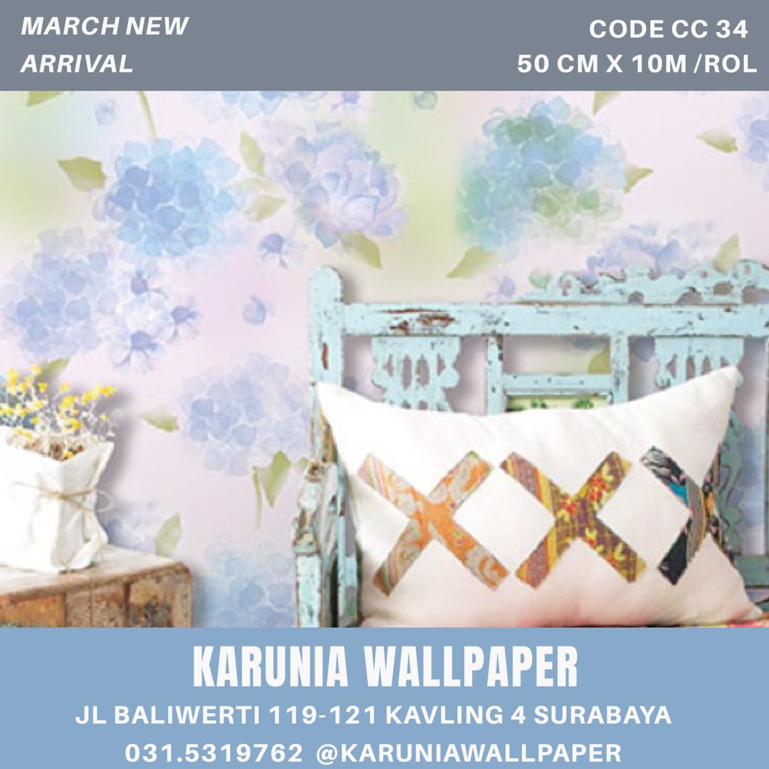 jual dinding wallpaper bunga biru