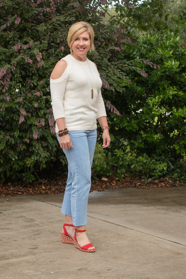 cold shoulder sweater, red, white and blue outfit