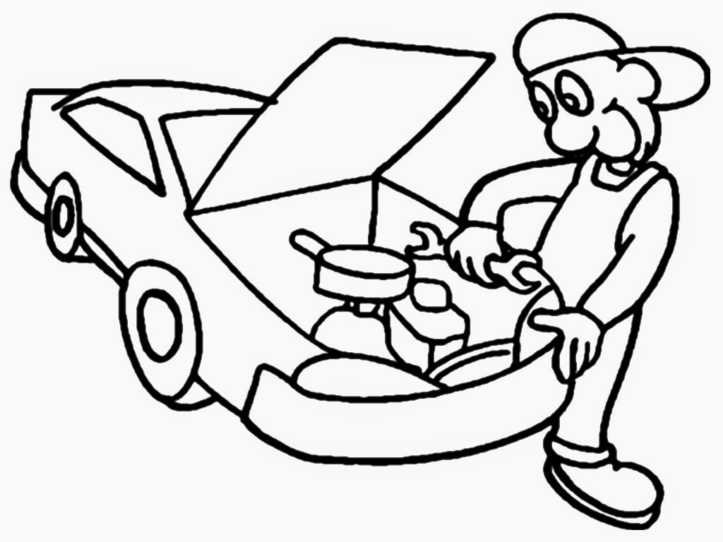 auto mechanic coloring pages
