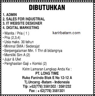 Lowongan Kerja PT. Long Time Indonesia
