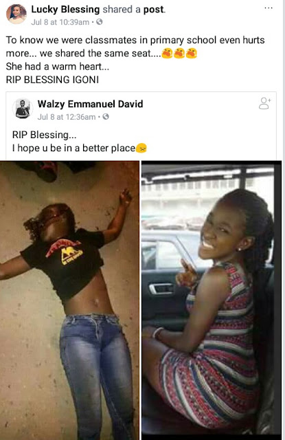 Friends of final year UNIPORT student who died in a ghastly powerbike accident mourn her loss