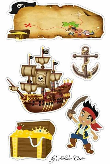 Jake y los Piratas: Toppers para Tartas, Tortas, Pasteles, Bizcochos o Cakes para Imprimir Gratis.